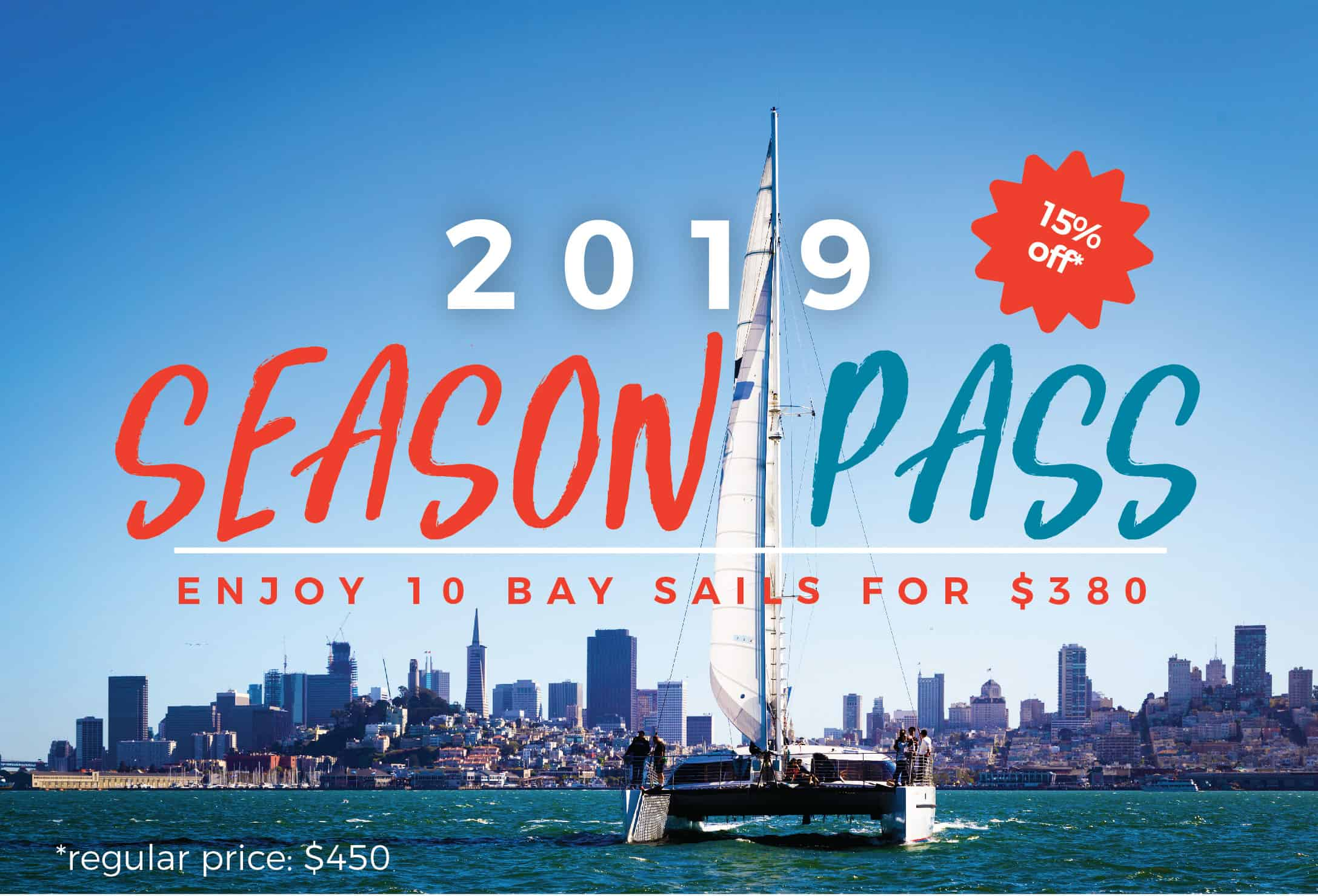 promotional graphic for the 2019 season pass offer from Adventure Cat