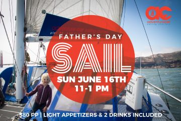 promotional graphic for Adventure Cat Father's Day Sail