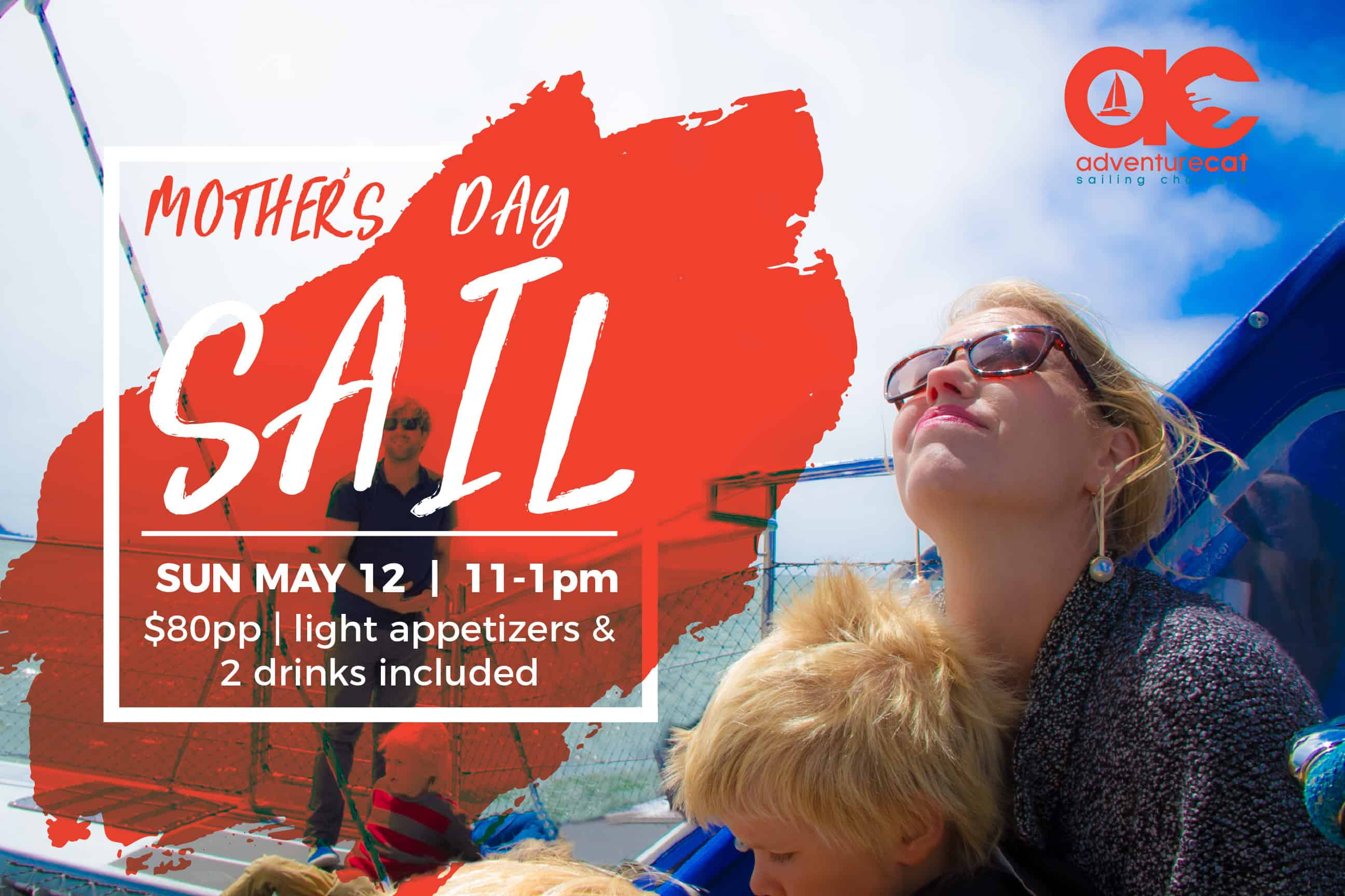 promotional graphic for Adventure Cat Mother's Day Sail