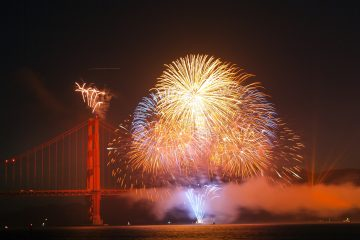 fireworks exploding over the Golden Gate bridge on 4th of July