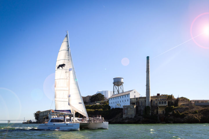 Adventure Cat sailing next to Alcatraz Island