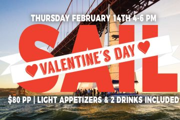 promotional graphic for Adventure Cat Valentine's Day sail