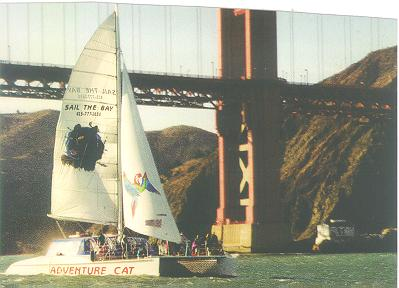 Ad Cat Sailing the bay