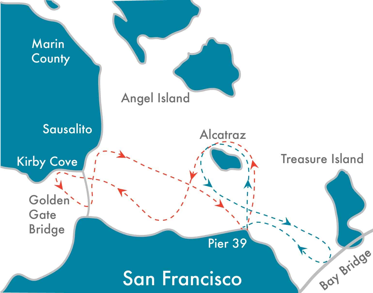Sailing Route map for Alcatraz City Sail and regular Bay or Sunset sail